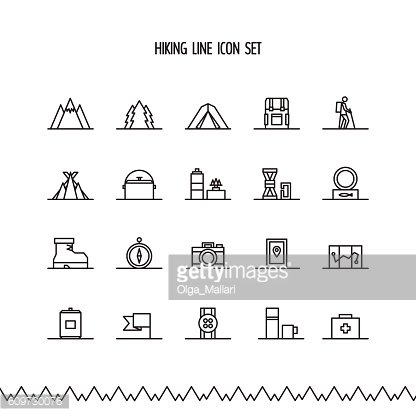 Hiking, trekking and camping line icon set.