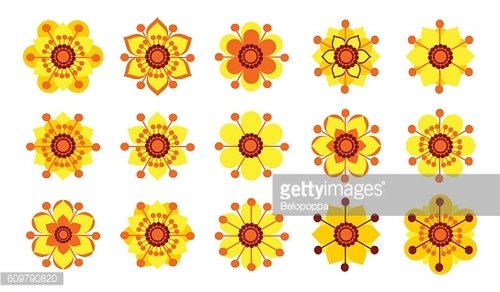 Set of vintage yellow flowers.