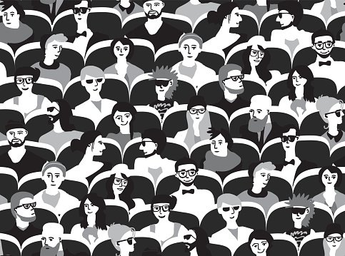 Audience group people sitting black and white seamless pattern