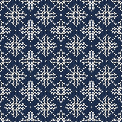 Winter Holiday Seamless Vector Knitted Pattern with Snowflakes