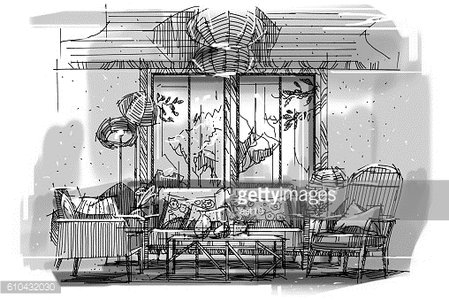 sketch perspective stripes living, black and white interior ...