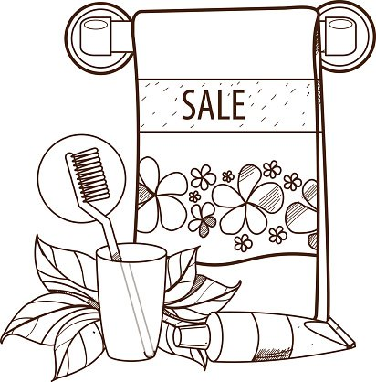 Towel Toothpaste Beauty Outline Drawing For Premium Clipart