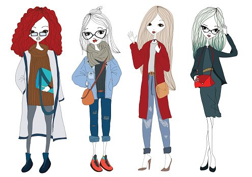 Drawings of girls stylish. Fashion girl collection with