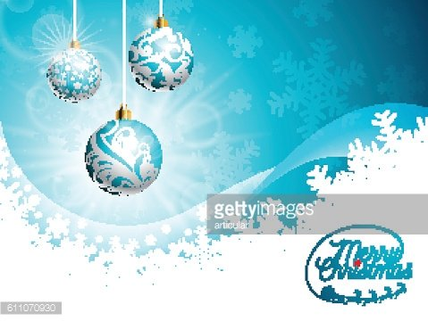Merry Christmas illustration with shiny glass balls on blue background.