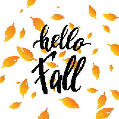 Hello fall text isolated on orange leaves background