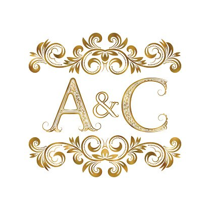 Ac Vintage Initials Letters A, C, Ampersand Surrounded premium ...