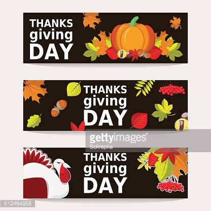 Hand Drawn Happy Thanksgiving Bunner Templates With Autumn leaves, Turkey