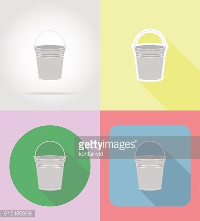 garden equipment metal bucket flat icons vector illustration