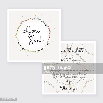 Save the date, wedding invitation card with wreath flower templa