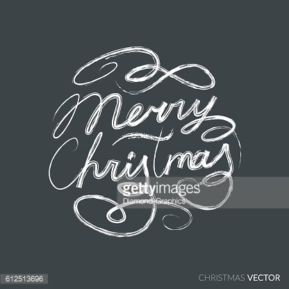 Merry Christmas lettering typography. Text design in handwriting