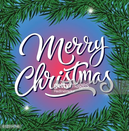 Merry Christmas Lettering with Fir Sprigs