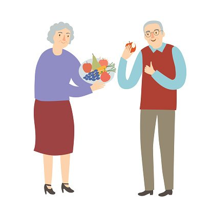 Old Man And Woman Eating Fruits And Vegetables Premium Clipart