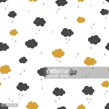 Vector Seamless pattern with raining clouds