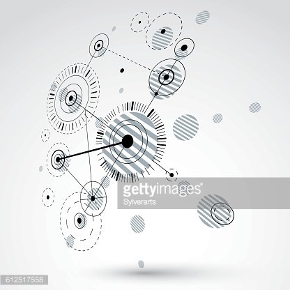 3d vector abstract monochrome background created in Bauhaus style