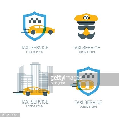Set of vector online taxi service icons and symbol.