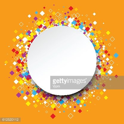 Round background with color rhombs.