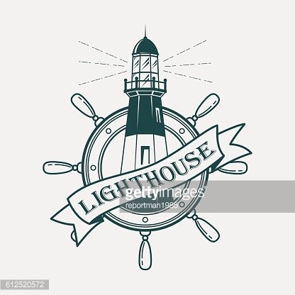 Lighthouse building with ships or boats wheel