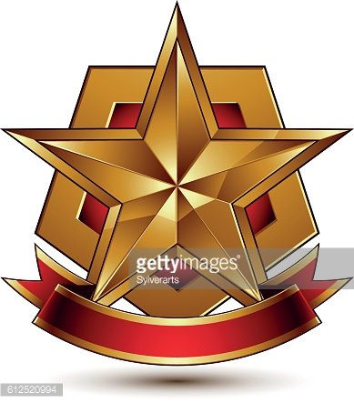 3d golden heraldic blazon with red filling and glossy star