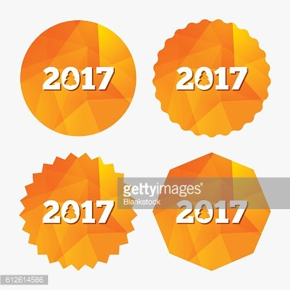 Happy new year 2017 sign icon. Calendar date.