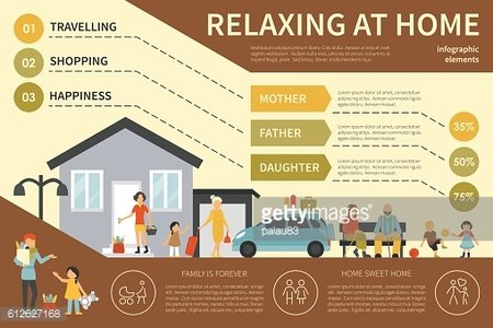 Relaxing At Home infographic flat vector illustration. Presentation Concept