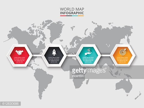 World map infographic template with hexagons.