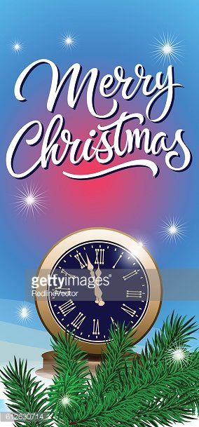 Merry Christmas Lettering with Clock