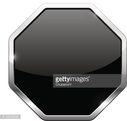 Black button with chrome frame. Octagon shape