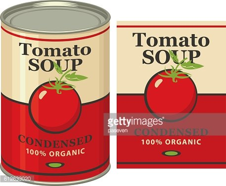 tin can with label tomato soup