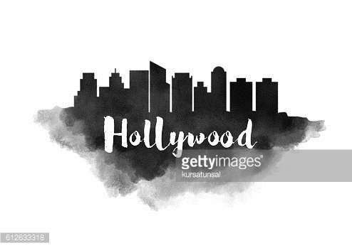 Watercolor Hollywood City Skyline