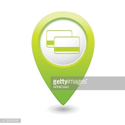 Bank credit cards icon on map pointer