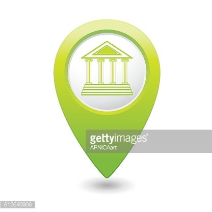 Map pointer with museum icon.