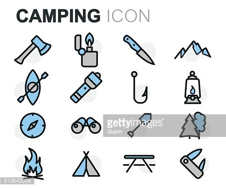 Vector flat line camping icons set