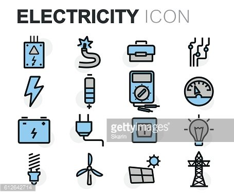 Vector flat line electricity icons set