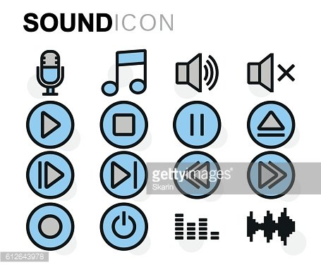 Vector flat line sound icons set