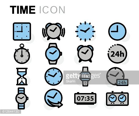 Vector flat line time icons set