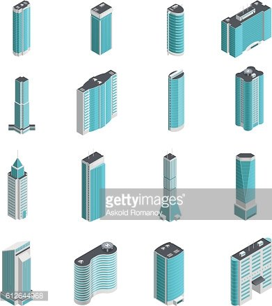 Modern Buildings Isometric Set