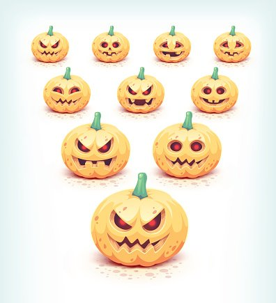 Carved Halloween pumpkins set isolated on white.