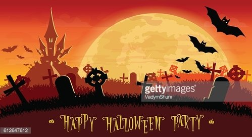 Halloween background. Monsters bats on old cemetery