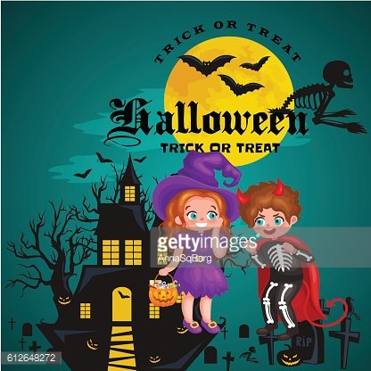 Cute colorful Halloween kids in costume for party set isolated