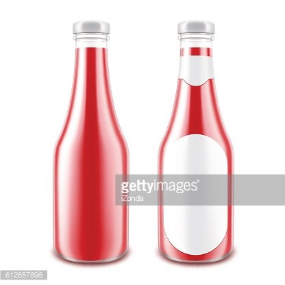 Set of Red Tomato Bottle without with Round Label