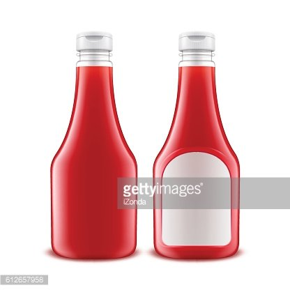 Set of Plastic Red Tomato Ketchup Bottle White label