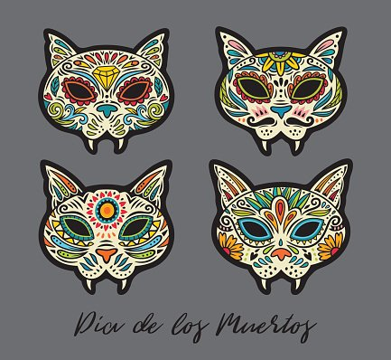 Greeting card with sugar skull traditional holiday in premium greeting card with sugar skull cats traditional holiday in mexico m4hsunfo