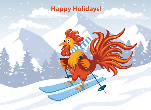 Happy New Year Greeting Card With Cute Funny Rooster Skiing
