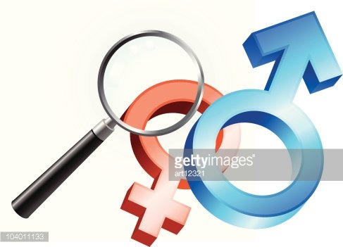 Male And Female Gender Symbol Under Magnifying Glass Premium Clipart