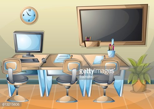 Cartoon Vector Illustration Interior Office Room With Separated ...