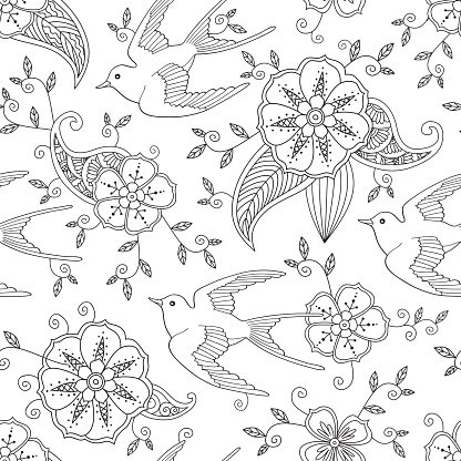 Seamless pattern with swallow bird flying in garden hand drawn