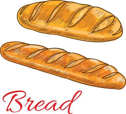Bread Wheat Loaf And Baguette Sketch Icons