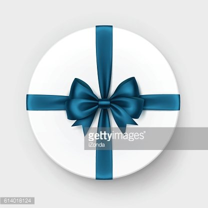 White Box with Blue Satin Bow and Ribbon