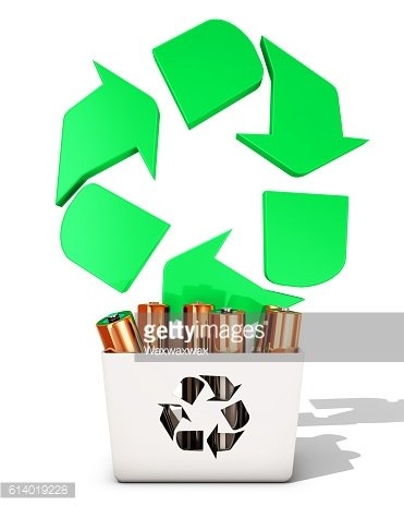 Battery recycling, 3d rendering