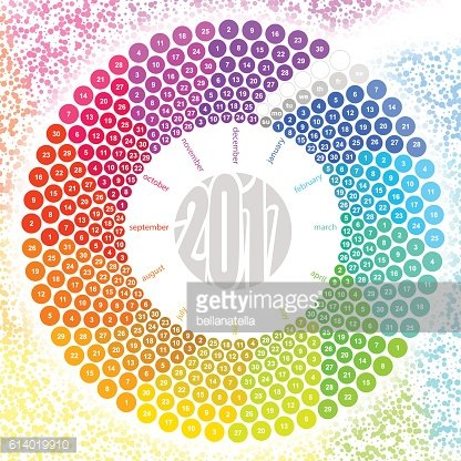 Round calendar 2017 in the colors of the spectrum.